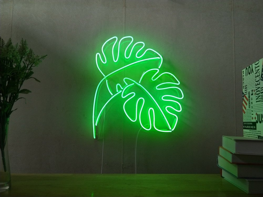 Monstera Leaf Industrial Panama Real Glass Neon Sign For Bedroom Garage Bar Man Cave Room Home Decor Handmade Artwork Visual Art Dimmable Wall Lighting Includes Dimmer