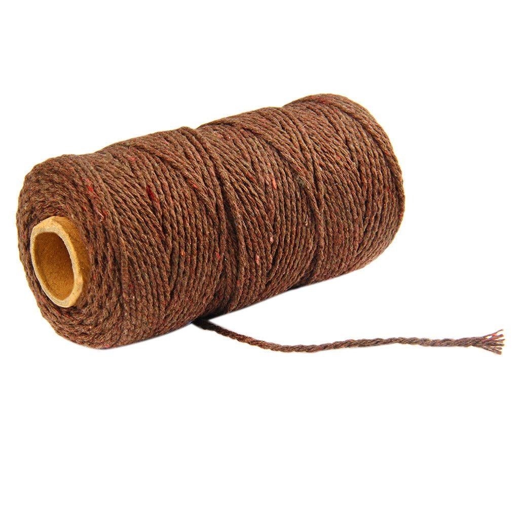 Jute Twine String,100m Long/100Yard Pure Cotton Twisted Cord Rope Crafts Macrame Artisan String (Coffee, 2mm)