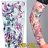 1Pc Unisex Nylon Elastic Temporary Tattoo Sleeve Body Arm Stockings UV Protection Tattoo Arm Sleeves for Men Cover up Stretchable Cosplay Costume Accessories for Men & Women (E)
