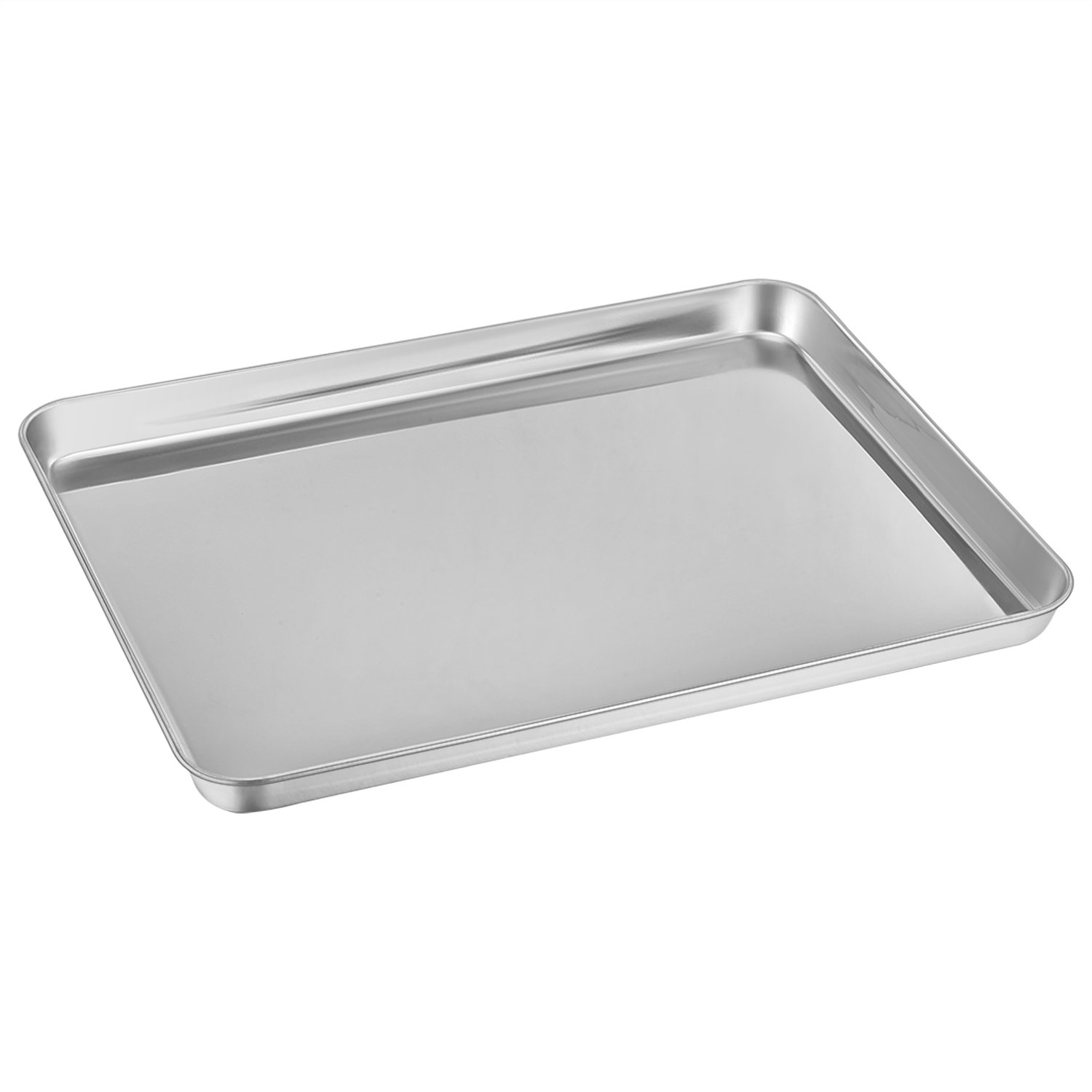 Baking Pan, E-far Baking Sheet Pure Stainless Steel Cookie Sheet Pan Rectangle Size, Non Toxic & Healthy, Rust Free & Mirror Finish, Easy Clean & Dishwasher Safe