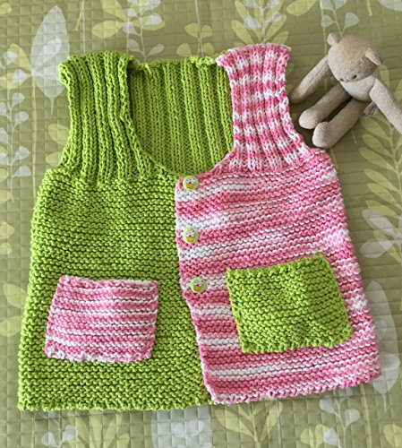 da0955b95 Amazon.com  Cute Hand Knit Baby Sweater--Rosy Pink   Lime Green ...