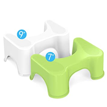 Houseasy Bathroom Toilet Stool 2 Sets, Fits All Toilets/All Ages, Green