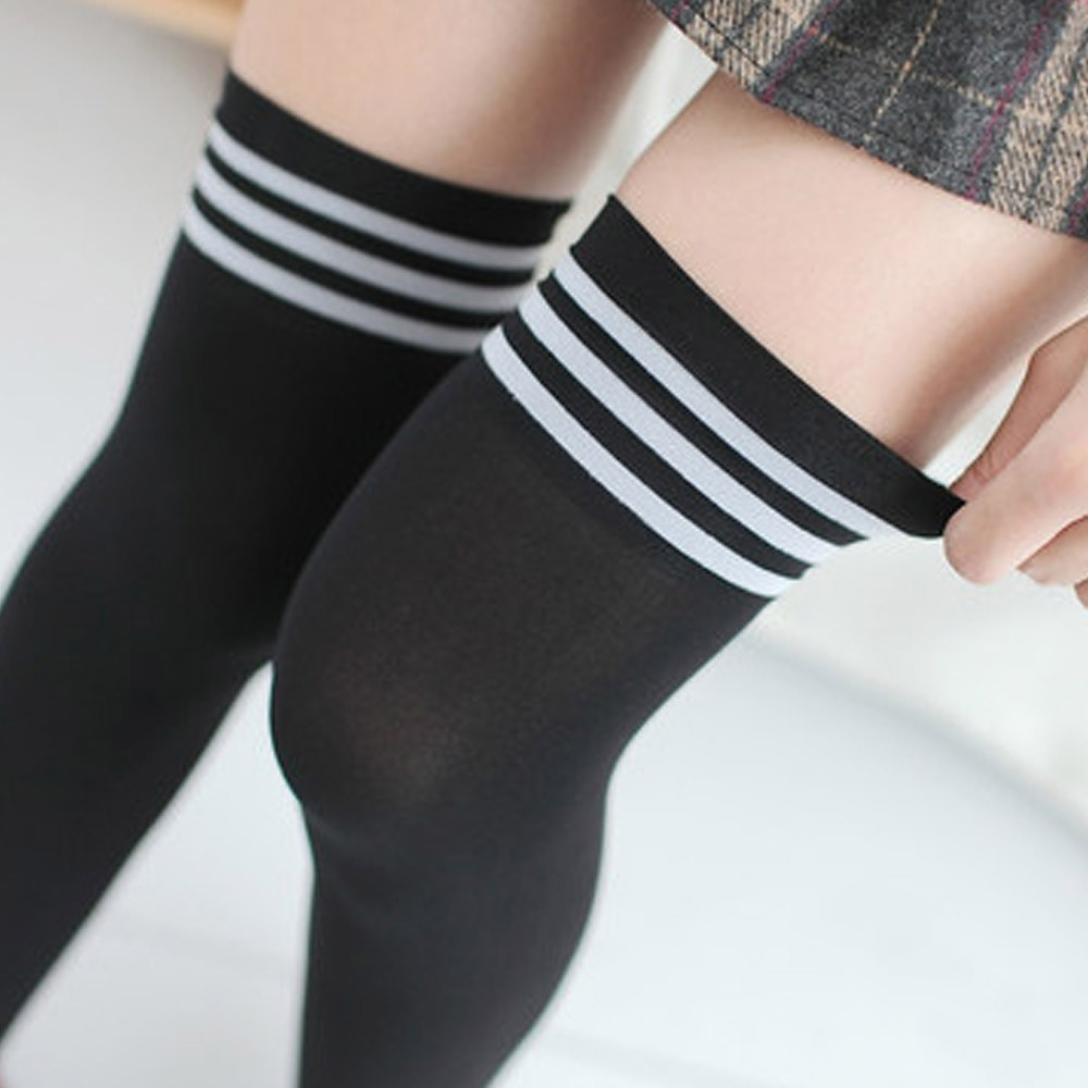 03914ee90ab Clearance!1 Pair Fashion Thigh High Over Knee High Socks Girls Women  Stocking Black at Amazon Women s Clothing store