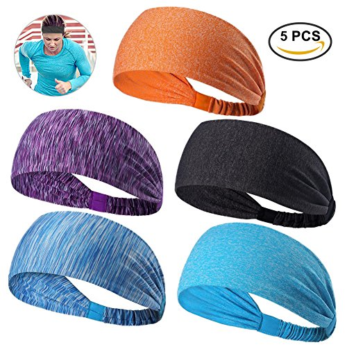 RUNACC Athletic Head Band Stretchy Head Wrap Wicking Headband, Suitable for Running, Yoga, Fitness Exercise and Cycling, Set of 5