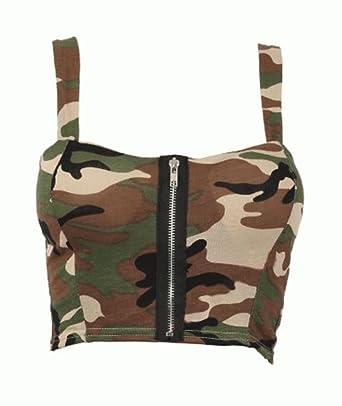 Amazon.com  FashionMark Women s Army Zip Front Bra  Clothing