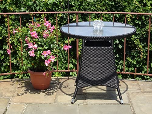 Patio Resin Outdoor Wicker Round 31.5 Inches Dining Table w Glass Top. Black
