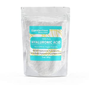Hyaluronic Acid Powder, 1 oz. by Unpretentious Skincare, Highest Purity, Food & Cosmetic Grade, Clear Resealable Bag