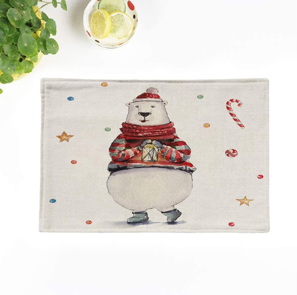 Topyee Placemats Set of 4 Watercolor Christmas with White Polar Bear Animal Animals Art Baby Cartoon Character 17x12.5 Inch Washable Place Mats for Kitchen Dinner Table Mats Parties Decor