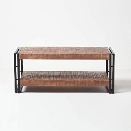 Homescapes Columbus Large Coffee Table Cum Tv Unit With Storage Shelf Industrial Reclaimed Wood Furniture