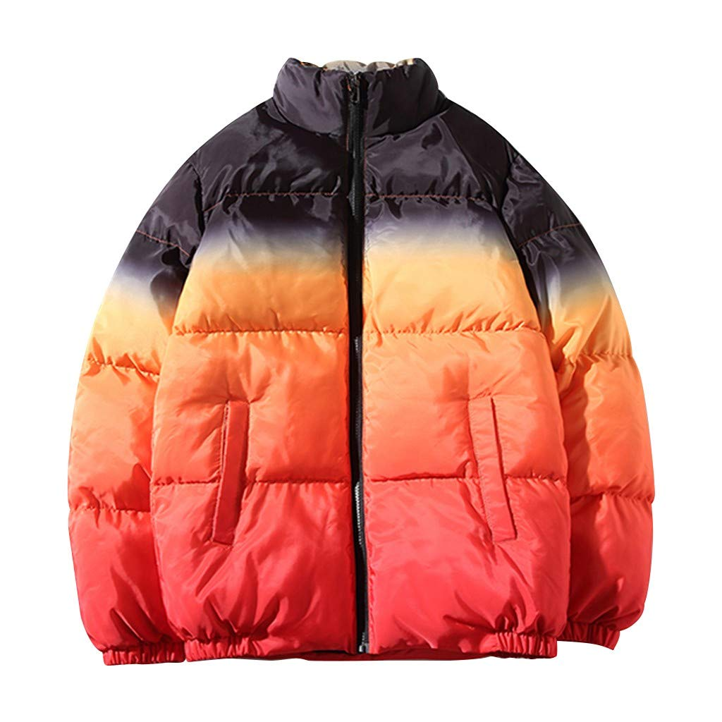 Allywit-Mens Water-Resistant Hooded Thickened Quilted Puffer Coat Heavy Padded Winter Parka Jacket Outerwear Orange by Allywit-Mens