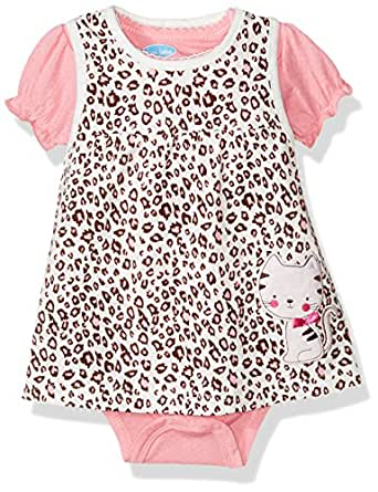BON BEBE Baby Girls' 2 Pc French Terry Jumper Set with S/s Lap Shoulder Bodysuit, Natural Cheetah, 12 Months