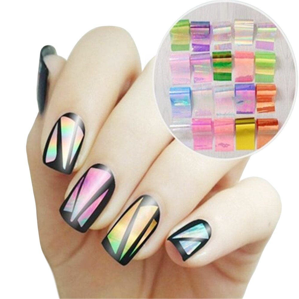 Amazon.com: BMC 6 Sheet Clear Holographic Nail Art Foil Strips With ...