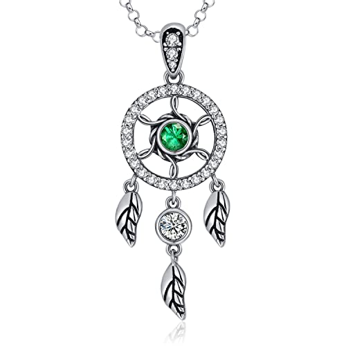 fe815aa502aa MEGACHIC Collar para Mujer con Atrapasueños Circonita de Color Esmeralda  Cristales de Swarovski