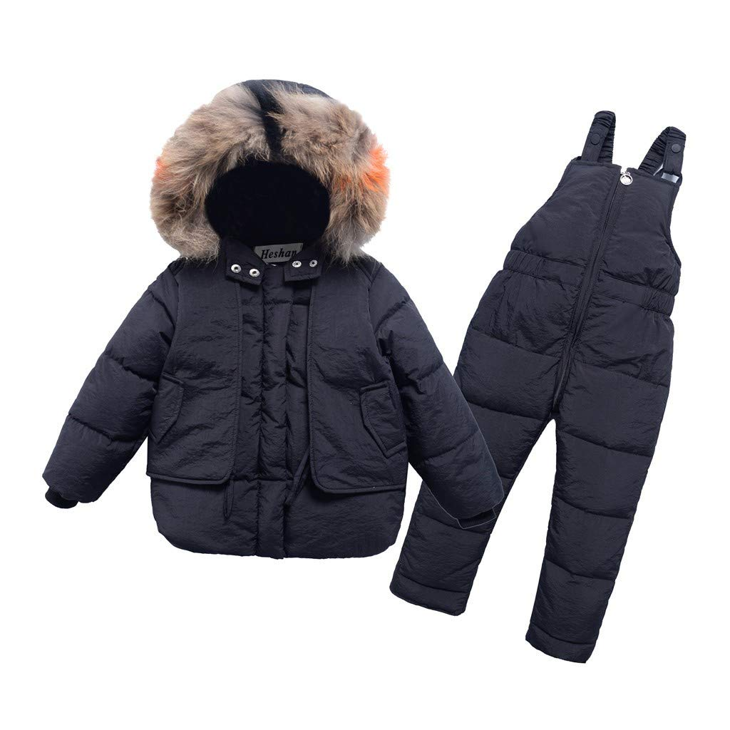Hmlai Clearance Kids Girl Boys Hooded Puffer Coat Cotton Padded Thick Down Jackets Winter Warm Zipper Jumpsuit Outerwear (4-5 Years,Black) by Hmlai Clearance