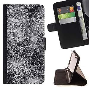 Dark Black White Lines Abstract - Modelo colorido cuero de la carpeta del tirón del caso cubierta piel Holster Funda protecció Para Sony Xperia Z3 Plus / Z3+ / Sony E6553 (Not Z3)