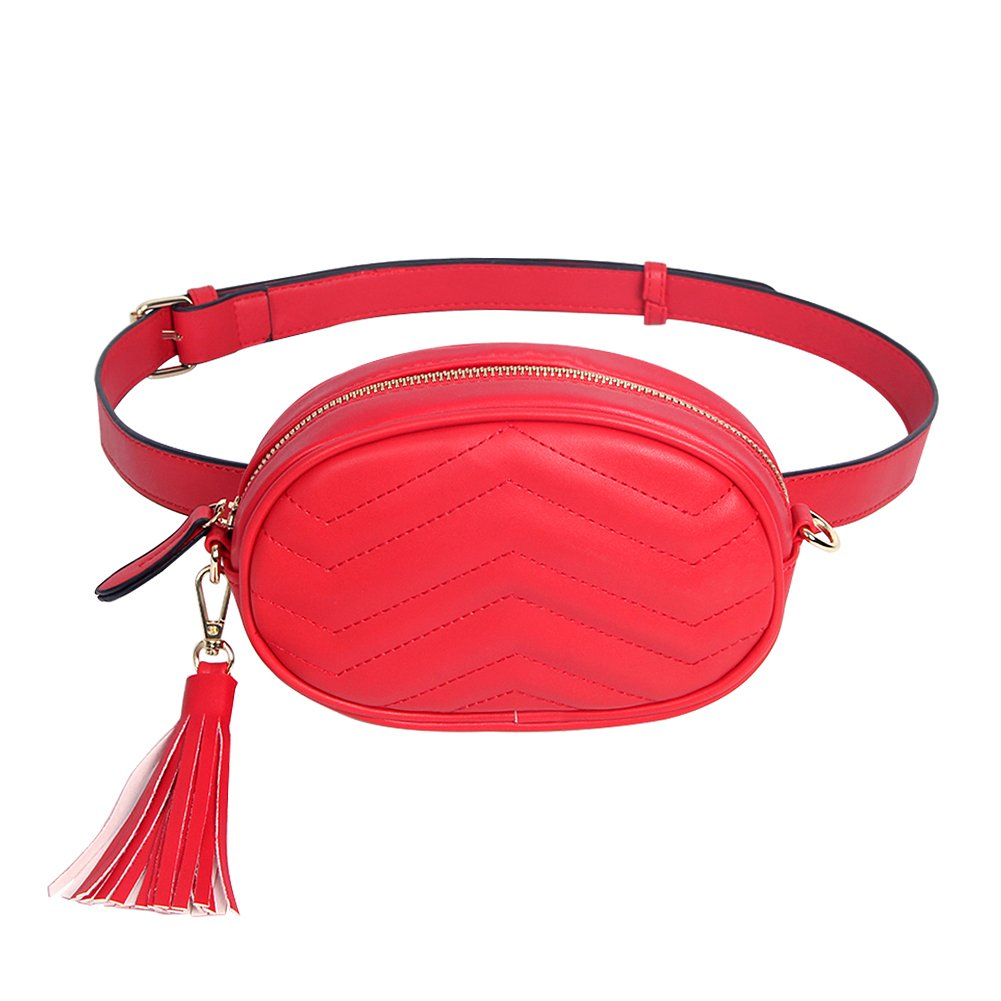 Badiy Women Leather Waist Belt Bag Elegant Fanny Pack Cell Phone Money Pouch WP07361BK