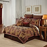 4 Piece Tan Brown Gold Red Cabin Themed Comforter King/Cal King Set, Hunting Lodge Bedding Deer Forest Woods Southwest Plaid Pattern Native American Rustic Animal Country, Jacquard