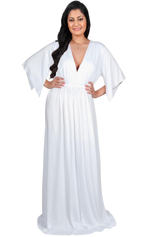 4e63c4f89f1 Adelyn   Vivian Plus Size Womens Long V-Neck Kaftan Short Sleeve Maxi Dress  at Amazon Women s Clothing store