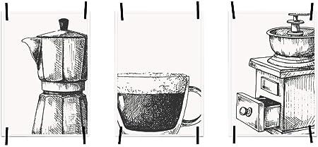 myprinti® Set de 3 Carteles de Cocina Cuadros de Arte | decoración de Pared Moderna decoración de Cocina | tamaño DIN A3 | cafetera, Taza de café, Molinillo de café: Amazon.es: Hogar