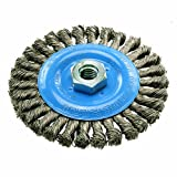 "Walter 13L404 Knot-Twisted Wire Wheel Brush, Threaded Hole, Carbon Steel, 4"" Diameter, 0.020"" Wire Diameter, 5/8""-11 Arbor, 4"" Length, 20000 Maximum RPM"