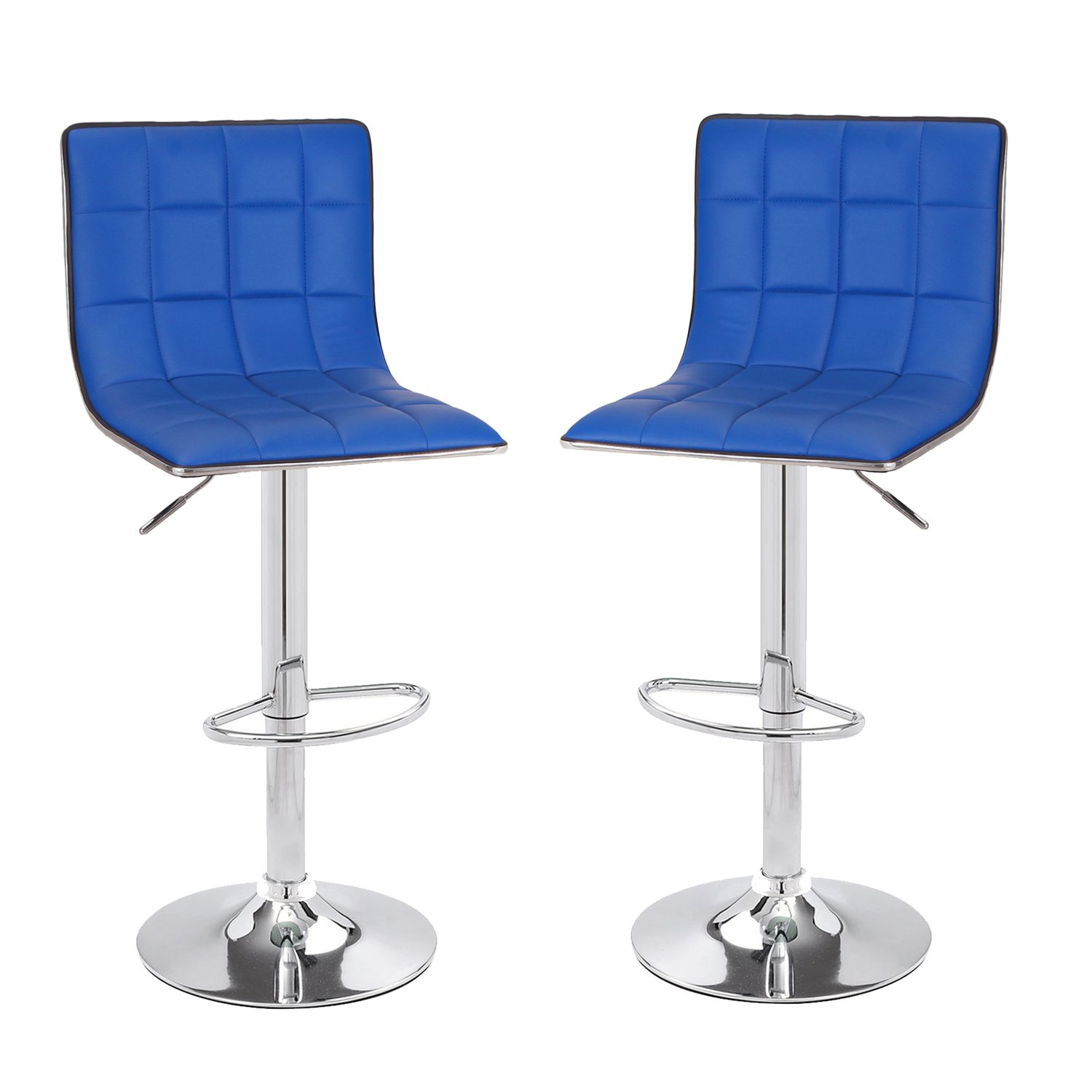 Asense Leather Hydraulic Adjustable Barstool Chair with Footrest & Chrome Metal Base (Set of 2) (Blue)