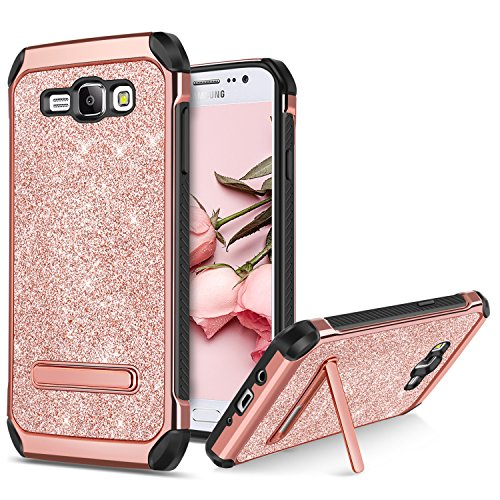 BENTOBEN Phone Case Samsung Galaxy J7 2015/J700, Shockproof Glitter Bling Sparkle Kickstand Cell Phone Case 2 in 1 Heavy Duty Hard PC Soft TPU Bumper Protective Cases Girls, Women - Rose Gold