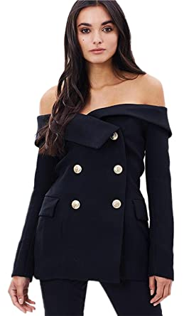 ecbac616f6f9 Sexy Off The Shoulder Foldover Double Breasted Blazer Jacket Coat Suit Top  Black 2XL