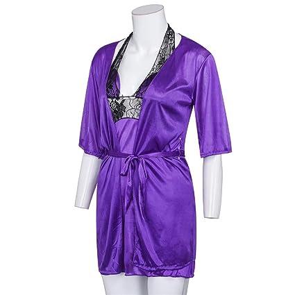 K-Youth® Vestido de Encaje Pijama Lenceria Erotica de Mujer Kimono Sexy Ropa Interior Bata de Satén Camisón Conjunto Babydoll Ropa de Dormir Mujeres ...