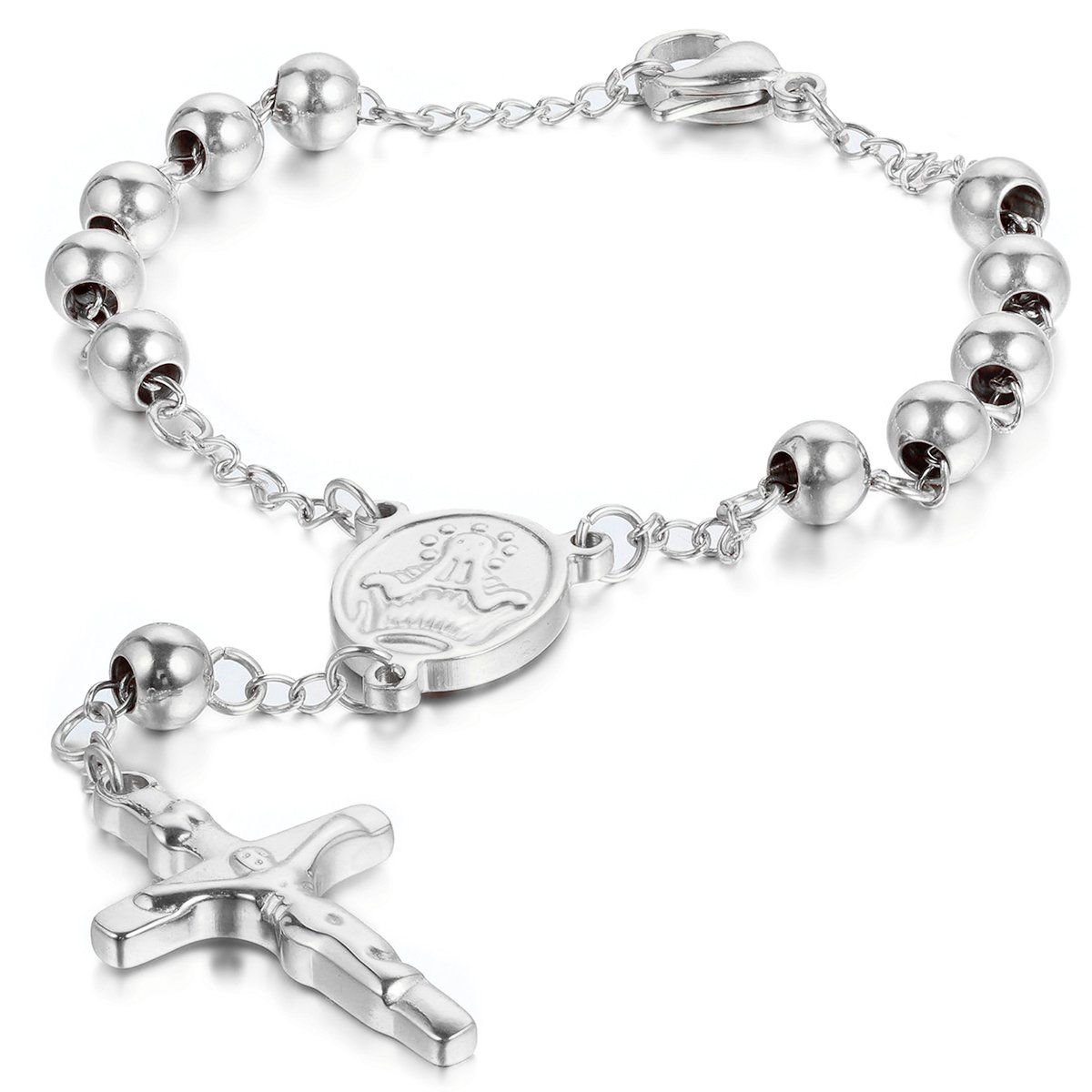 Jewelrywe Men Women's Stainless Steel Religious Catholic Rosary Beads Chain Bracelet with Crucifix Cross and Medal Silver Christmas Cyber Monday Deal Gift JW34PCA005