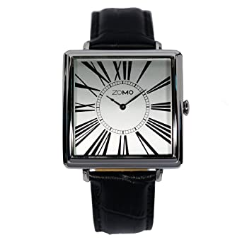 Mens Watches ZOMO Adore Square Watches - Stainless Steel Dress Watches with Leather Strap