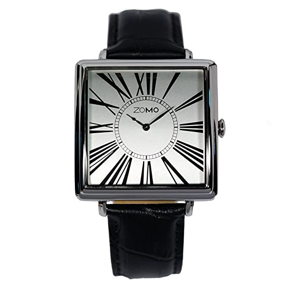 Amazon.com: Mens Watches ZOMO Adore Square Watches - Stainless Steel Dress Watches with Leather Strap: Watches
