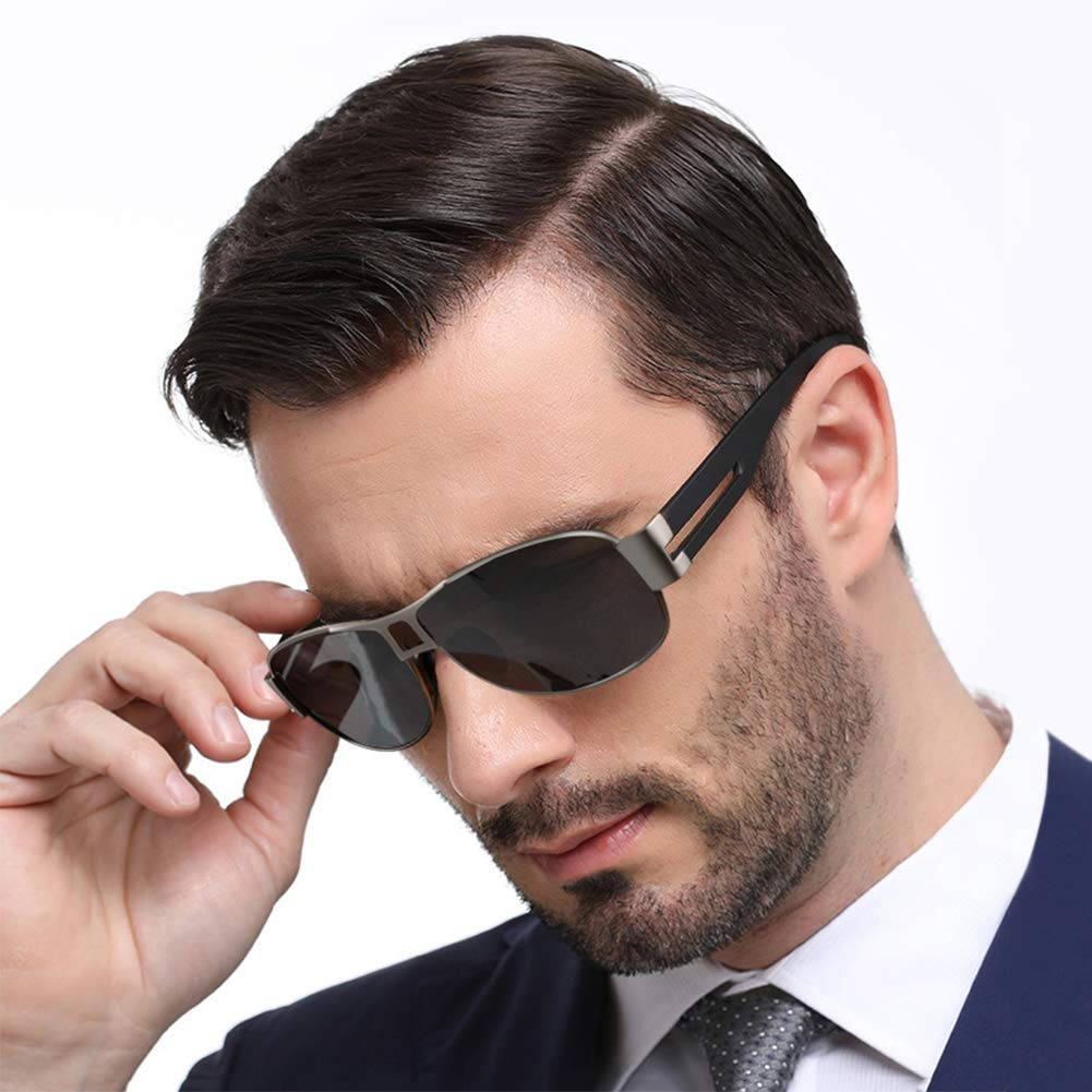 WOWSUN Classic Aviator Military Polarized Driving Sunglasses For Men | Ultralight Frame with 100% UV400 Protection Lens (Black Lens Gun Grey Frame)