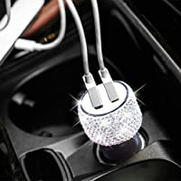 Dual USB Car Charger Bling Bling Handmade Rhinestones Crystal Car Decorations for...