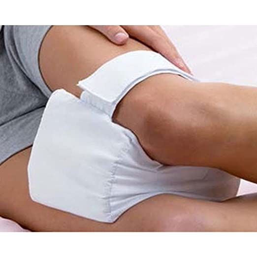 Almohada de rodilla, almohada de memoria para rodilla con correa elástica para dormir de lado, lesiones de espalda, dolor de cadera, embarazo, funda ...