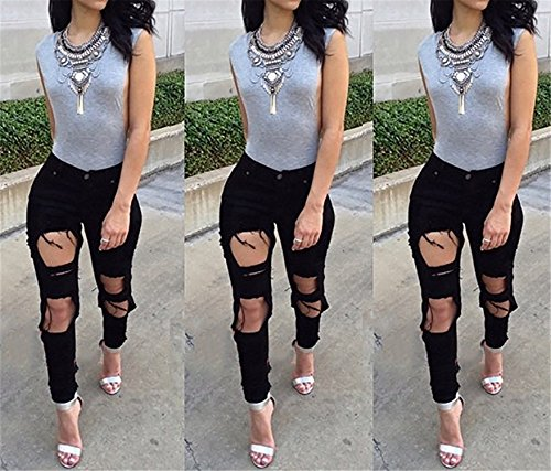Cheryl Bull Fashion Women Big Holes Ripped Jeans Skinny High Waisted Pencil Pants Black White Plus Size Jeans by Cheryl Bull Jeans (Image #2)