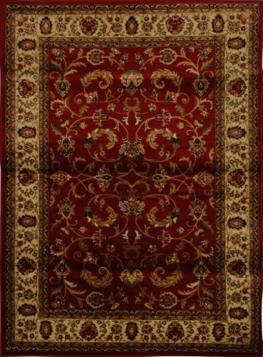 "Home Dynamix Royalty Elati Area Rug 7'8""x10'4"", Border Red/Ivory"