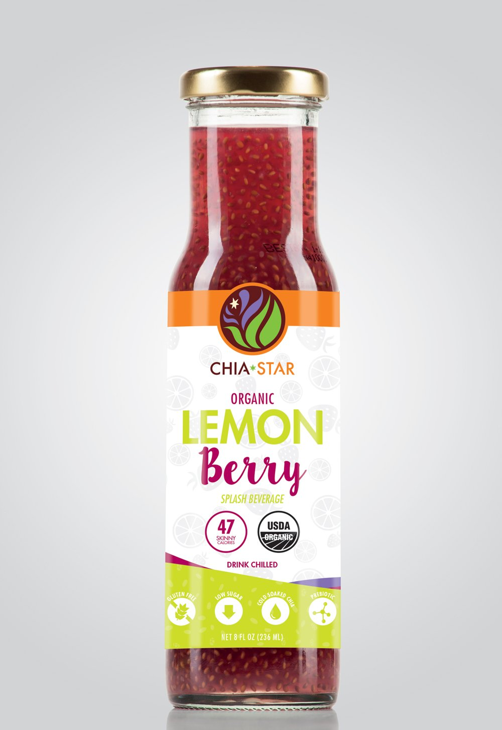 Chia Star Lemon Berry Splash three 8 oz bottles
