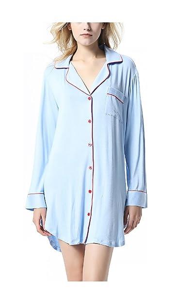 Oudan Pijamas de Manga Larga de Las Mujeres Pijamas Vestido de Noche Corto de Punto Sexy