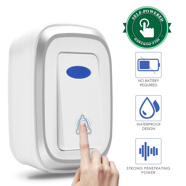 Agedate Newest 2019 Wireless Doorbell Battery Free Door Bell Kit  Transmitter Button Home Waterproof Doorbell Push Button, Operating at 1000FT