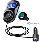 (Upgraded Version) Bluetooth FM Transmitter, Bullker Wireless Radio Adapter Hands-free Car Kit with QC3.0 Smart Dual USB Ports, Safe Driving with One Key Control