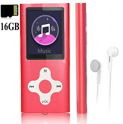 Digital Music Player MP4 Player Support Photo Viewer Mini USB Port 1.8 LCD G.G.Martinsen Red-with-White Stylish MP3//MP4 Player with a 16GB Micro SD Card MP3 Player Media Player