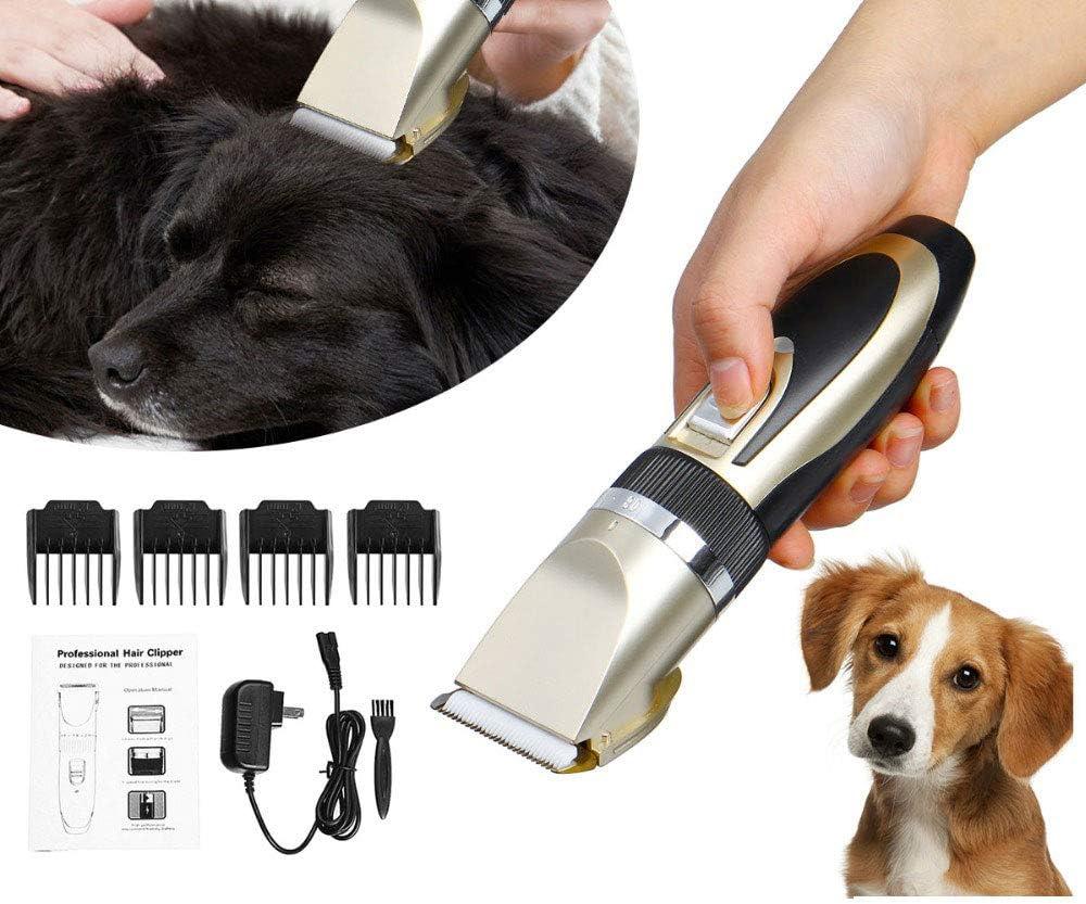 WVVU Perro del Condensador De Ajuste del Pelo, Ajuste Fino Cinco Punta del Cuchillo De La Cabeza/De Poco Ruido, Máquina De Afeitar Recargable para Mascotas/Perros/Gatos