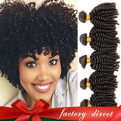 Mongolian Funmi Hair Human Hair Bundles, Afro Kinky Curly Weave Short Hairstyles, 100% Unprocessed 8A Virgin Hair Extensions 100g/PC (10 10 10)
