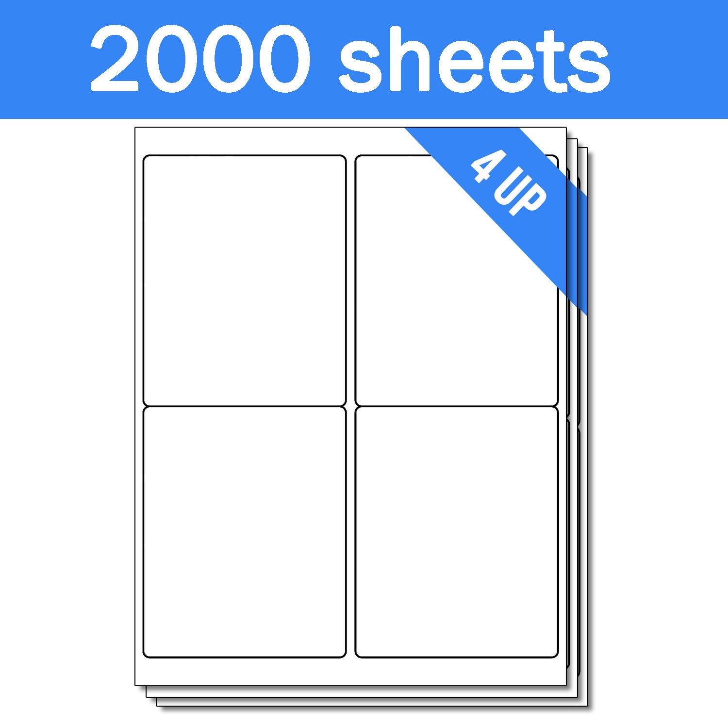 OfficeSmartLabels Rectangular 4 x 5 Shipping / Mailing Labels for Laser & Inkjet Printers, 4 x 5 Inch, 4 per sheet, White, 8000 Labels, 2000 Sheets