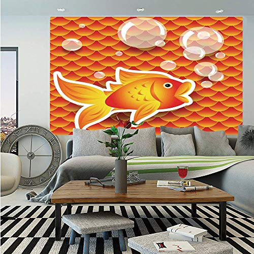 Burnt Orange Huge Photo Wall Mural,Cute Small Goldfish Talking with Bubbles Random Scallop Patterns Decorative Home Decorative,Self-adhesive Large Wallpaper for Home Decor 100x144 inches,Burnt Orange