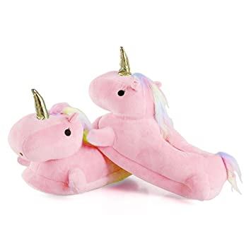 Zapatillas de estar por casa, Unicornio Felpa Suave Calentar Zapatillas Zapatos mujer invierno peluche para