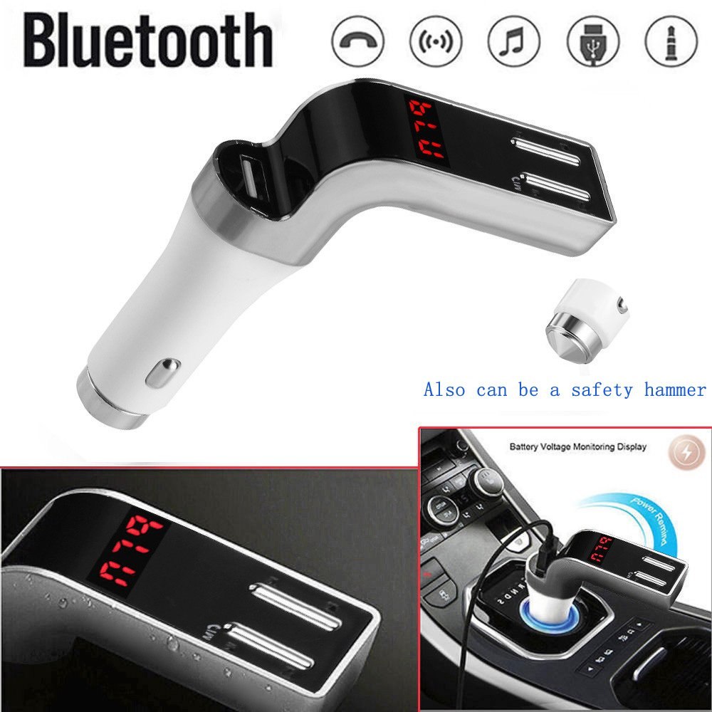 Clearance Autoday Automotive Car Bluetooth Handsfree MP3 Player USB Charger FM Transmitter Radio Safety Hammer(ship from US) (Grey, A)