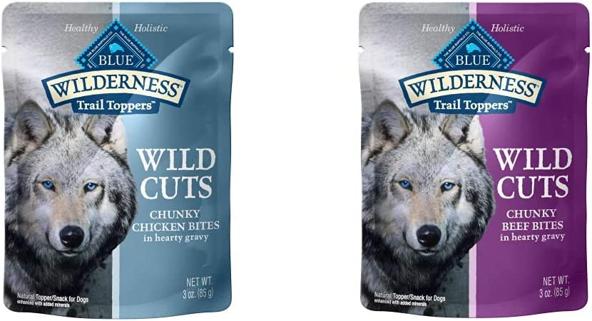 Blue Buffalo Wilderness Trail Toppers Wild Cuts High Protein, Natural Wet Dog Food Variety Pack, Chicken and Beef Bites, 3-oz Pouch, (48 Count- 24 of Each Flavor)