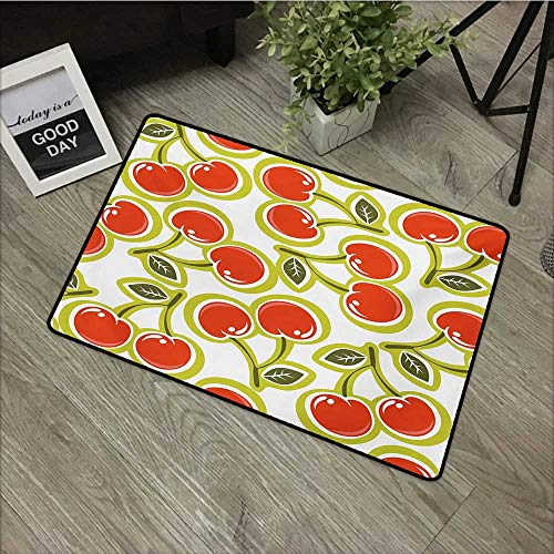 Outdoor Door mat W19 x L31 INCH Fruit,Sweet Yummy Ornate Cherry and Leaves Pattern Fresh Food Fun Art Picture,Apple Green Red White Easy to Clean, no Deformation, no Fading Non-Slip ()