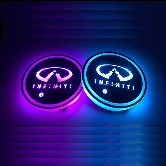 USB Charging Cup Mat for Drink Coaster Accessories Interior Decoration Atmosphere Light. 2pcs LED Car Coasterss with 7 Colors Luminescent Light Cup Pad LED Cup Holder Lights